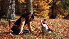 Stock Video Footage of Beautiful mother and little child play with autumn leaves, beautiful nature