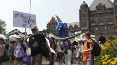 March for Jobs, Justice and Climate Change, Toronto July 2015 Stock Footage