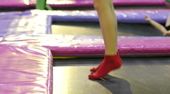 Trampolines for children indoor playground - a great place for kids to jump Stock Footage