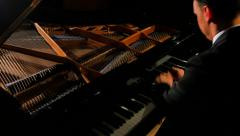 4K Man Plays Grand Piano Very Quickly, Fast Moving Hands, Dolly Shot - stock footage