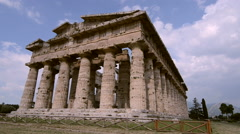 Archaeological site of Paestum , Temple of Hera . Italy Stock Footage