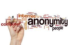 Anonymity word cloud Stock Photos