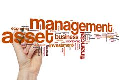 Asset management word cloud - stock photo