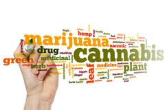 Cannabis word cloud - stock photo