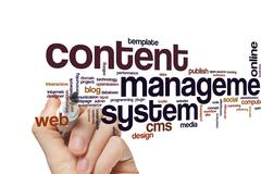 Content management system word cloud Stock Photos