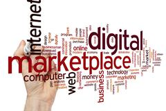 Digital marketplace word cloud Stock Photos