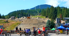4K Whistler Bike Park Jumps, Gondola Cable Car and Mountains Stock Footage