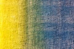Fine blue and yellow cotton fabric Stock Photos