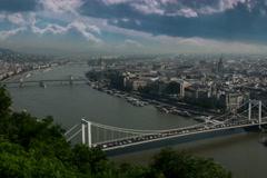 Budapest riverfront and city skyline time lapse 6K Stock Footage