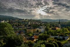 Melk village castle and church 6K Stock Footage