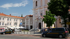 Tilt from the Church of St. Casimir in Vilnius Lithuania Stock Footage