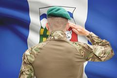 Stock Photo of Soldier saluting to Canadial province flag series - Northwest Territories