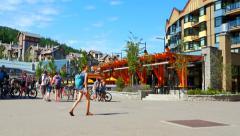 4K Whistler Village Pedestrians Enjoying Summer Weather - stock footage