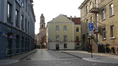 Street in the Old town Vilnius Lithuania Stock Footage