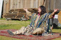 Stock Photo of Mongolian shaman performs a ritual in Ulaanbaatar, Mongolia.