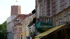 Street in the Old town Vilnius with the tower of the Upper Castle Stock Footage