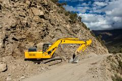 Road reconstruction in mountains Himalayas - stock photo