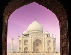 Taj Mahal through arch, Agra, India - stock photo
