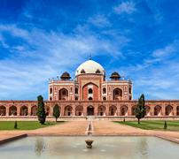 Humayun's Tomb. Delhi, India. UNESCO World Heritage Site. Frontal View - stock photo