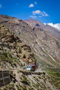 Manali-Leh road in Indian Himalayas with lorry. Himachal Pradesh Stock Photos