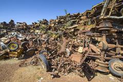 Tank cemetery Asmara Eritrea Africa Stock Photos