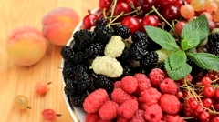 Fresh sweet fruits revolve Stock Footage