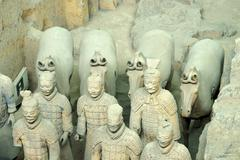 Terracotta Army Hall 1 Mausoleum of the First Qin Emperor Xian Shaanxi Province - stock photo