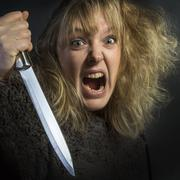 Crazy Psychotic Woman - stock photo