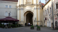 Tilt from the Holy Trinity Church & Basilian Gate in Vilnius Lithuania Stock Footage