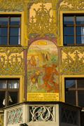 Stock Photo of Hope mural frescoes from the 16th century preaching pulpit Ulm Town Hall Ulm