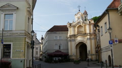 Holy Trinity Church & Basilian Gate in Vilnius Lithuania Stock Footage