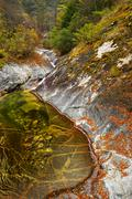 Wild river in autumn landscape Heihe National Park Qinling Mountain Shaanxi - stock photo