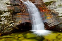 Waterfall in autumn landscape Heihe National Park Qinling Mountain Shaanxi - stock photo