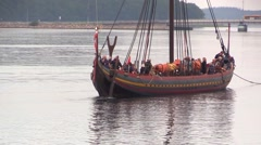 The Sea Stallion from Glendalough leaves Roskilde Fjord in dead calm weather Stock Footage