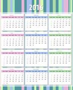 Calendar 2016 starting from sunday - stock illustration
