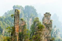 Stock Photo of Tianzishan mountain with vertical rock columns of quartz sandstone Zhangjiajie