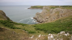 Coast view Mewslade Bay The Gower peninsula South Wales UK Stock Footage