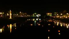 Hoi An - Night river view with floating lanterns and boats. Time lapse Stock Footage