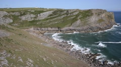 Mewslade Bay The Gower peninsula South Wales UK Stock Footage