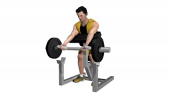 Male working out biceps on preacher bench. Loop able with Alpha Channel Stock Footage