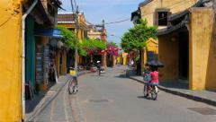 Hoi An ancient city street view with people. 4K resolution. Vietnam Stock Footage