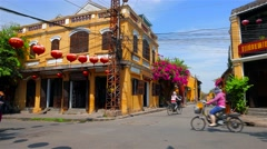 Hoi An ancient city street view with people. 4K resolution speed up. Stock Footage