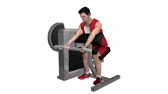 Male working out biceps on machine. Loop able with Alpha Channel Stock Footage