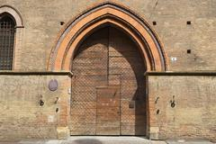 Stock Photo of Exterior of the old wooden gate in Bologna, Italy.
