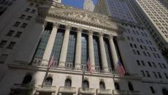 Tilt on New York Stock Exchange building exterior Stock Footage