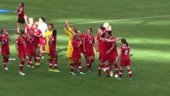 Women's Soccer Match - 12 - Canada Team Players Stock Footage
