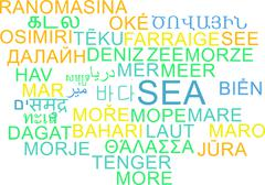 Stock Illustration of Sea multilanguage wordcloud background concept