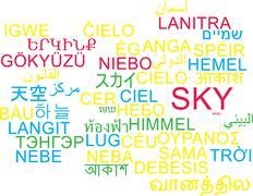 Sky multilanguage wordcloud background concept - stock illustration