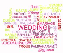 Wedding multilanguage wordcloud background concept - stock illustration