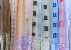 Sheer materials patterns for retro home decor drapes - stock photo